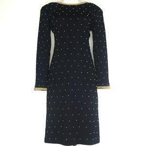 VTG et al Black Bead Wool Sweater Dress A200814